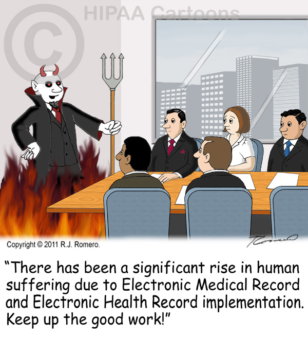 Cartoon-Devil-tells-executives-that-human-suffering-has-increased-due-to-EHR-implementation_emr107