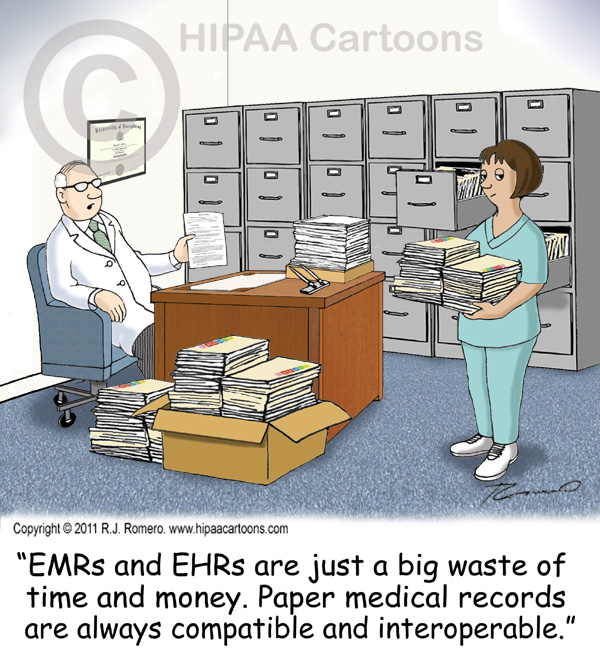 Cartoon-doctor-tells-nurse-that-emr-ehr-are-waste of-time-and-money_emr105