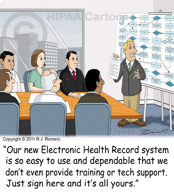 Cartoon-salesman-tells-staff-that-ehr-system-is-easy-and-intuitive_emr108