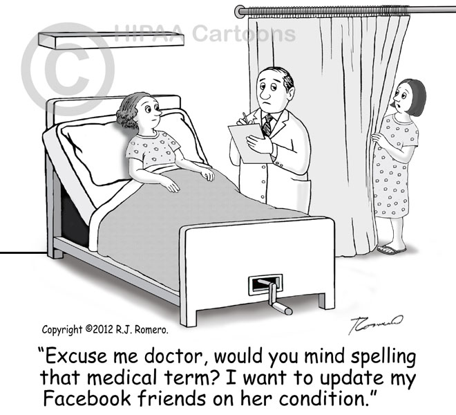 ... Cartoon Woman Eavesdrops Doctor Talking To Patient In Hospital Bed  P123