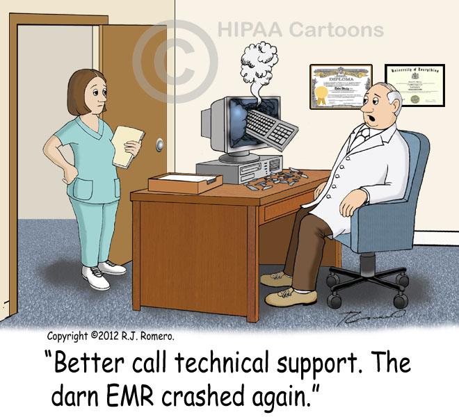 Cartoon-Doctor-tells-nurse-to-call-technical-support-because-EMR-crashed_emr124