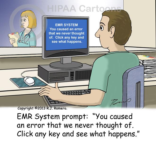 Cartoon-Nurse-sees-EMR-message-on-computer-error-never-thought-of_emr140
